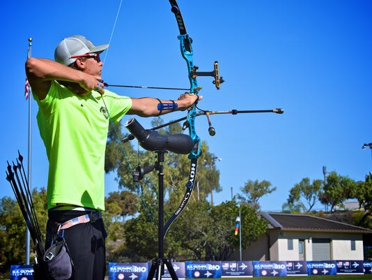 CORRECTS THE FIRST NAME TO COLLIN, NOT COLIN AS ORIGINALLY SENT - In this April 20, 2016 image provided by USA Archery, Collin Klimitchek competes at the U.S. Olympic Team Trials in Chula Vista, Calif. The 19-year-old is in fourth place heading into the final qualifying stage later this month in Newberry, Florida. The top three earn spots for the U.S. to the Rio de Janeiro Olympics.(USA Archery via AP)
