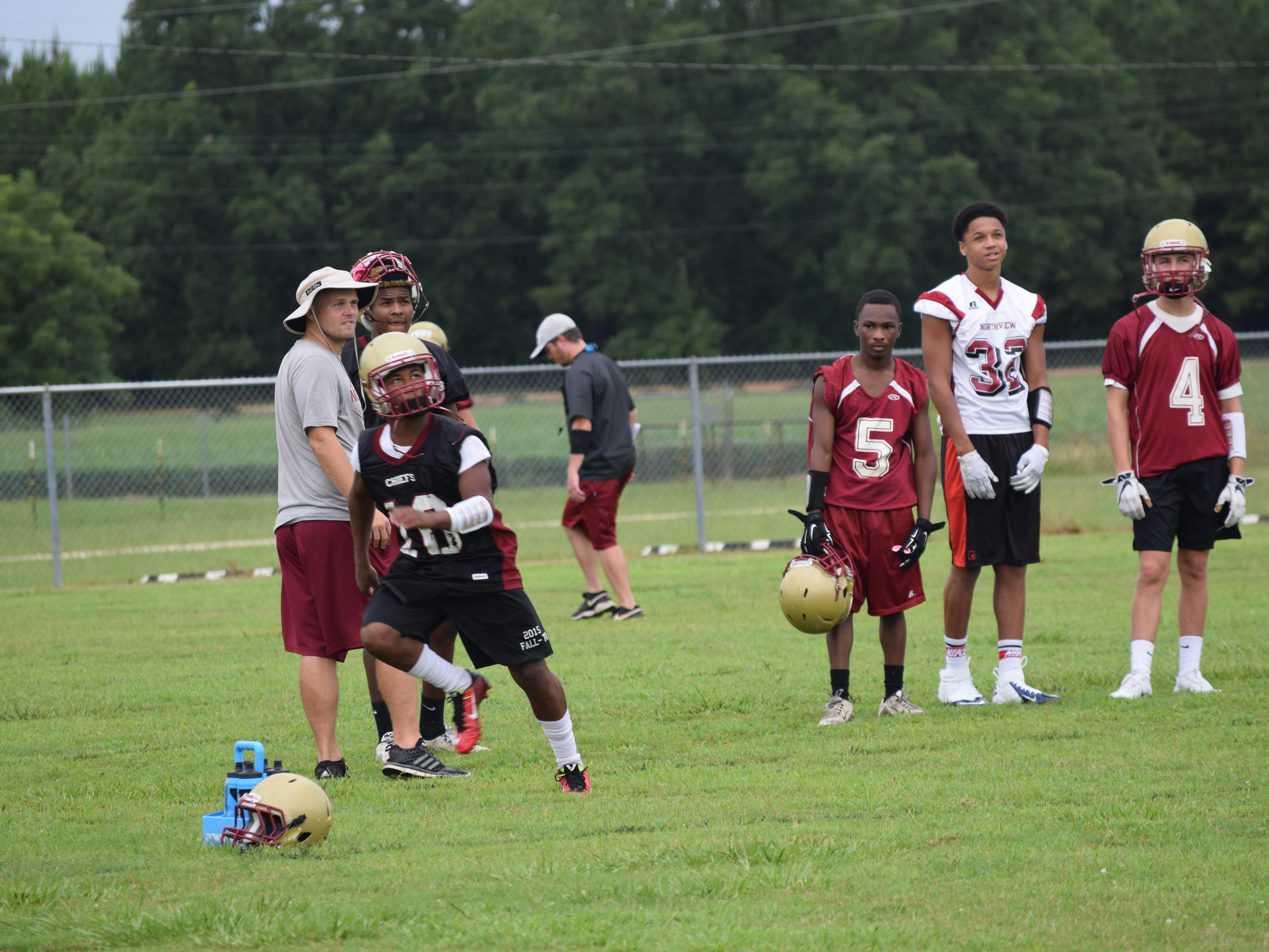 Northview's MJ Jones, a cornerback, goes through drills during a recent practice.