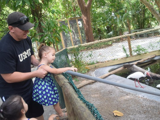 Auden and Camber Hardin, both 3, put the turtle food on the chute to feed the turtles below at the new enclosure at the Everglades Wonder Gardens. Their father, Bryce Hardin, helps them out.