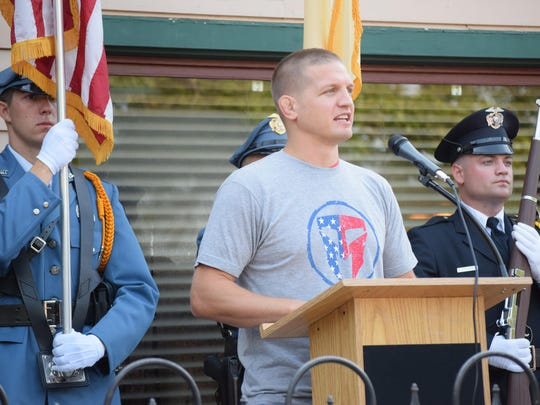 Michael Barikian of Strafford spoke during the opening ceremony of the 9/11 Heroes Run on Saturday.