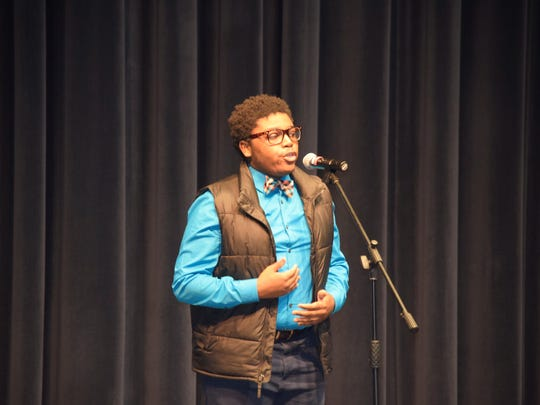 Senior Ryan Washington won Sanford's Poetry Out Loud Competition and will go on to compete at the state level in Dover next month.