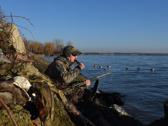 Bob Soulliere Calls Ducks From A Rocky Point On Lake St Clair Photo Robert Gwizdz