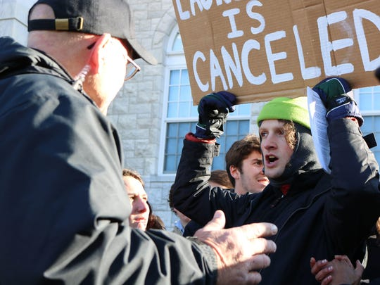 "Middlebury College students protest speaker Dr. Charles Murray on Thursday, March 2, 2017, at Middlebury College. The protesters forced Murray's talk to be moved to a different venue, and later confronted the author and a professor in what college President Laurie Patton described as a ""violent incident."""
