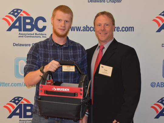 St. Georges' Jacob Dutcher, technical drafting '17, receiving the ABC Delaware Student Award from Todd Moran from M. Davis & Sons, Inc.