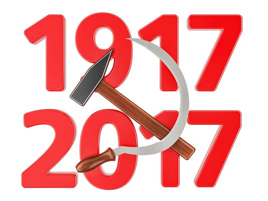 Anniversary of Russian Revolution 1917 concept, 3D rendering isolated on white background