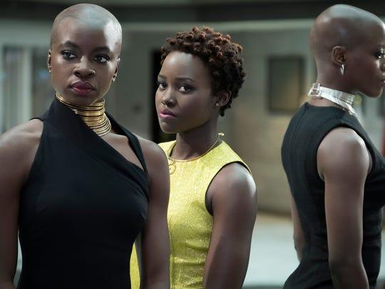 """Okoye (Danai Gurira), Nakia (Lupita Nyong'o) and Ayo (Florence Kasumba) in """"Black Panther."""""""