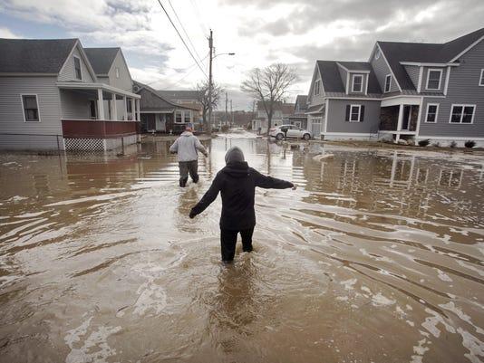 Coastal flooding in Camp Ellis in Saco