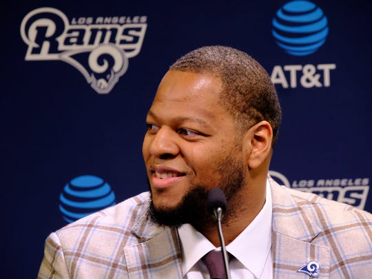 Los Angeles Rams new defensive tackle Ndamukong Suh answers questions during a news conference at the team's practice facility in Thousand Oaks, Calif., Friday, April 6, 2018. (AP Photo/Richard Vogel)