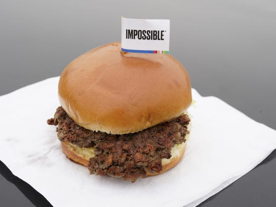The Impossible Burger, a plant-based burger containing