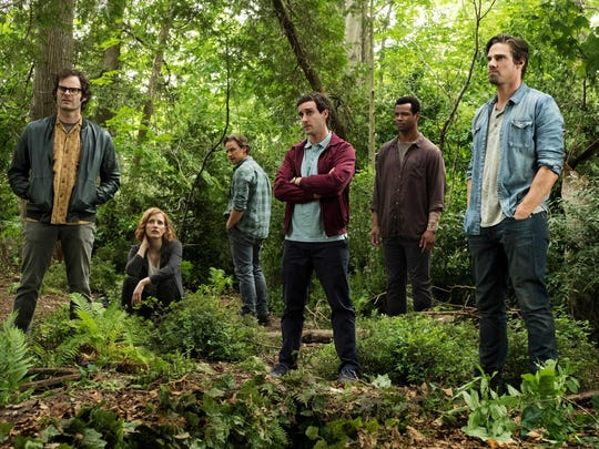 """Bill Hader, left, Jessica Chastain, James McAvoy, James Ransone, Isaiah Mustafa and Jay Ryan star in """"It Chapter Two."""""""