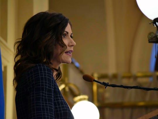 Gov. Kristi Noem announces her 2021 budget to legislators Tuesday at the Capitol in Pierre, S.D.