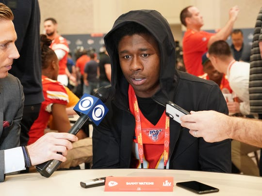 Jan 29, 2020; Miami, Florida, USA; Kansas City Chiefs wide receiver Sammy Watkins is interviewed during a press conference for Super Bowl LIV at JW Marriott Turnberry. Mandatory Credit: Kirby Lee-USA TODAY Sports