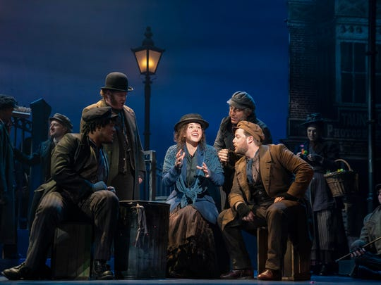 """Shavey Brown, Mark Aldrich, Shereen Ahmed (center), William Michals and Colin Anderson in The Lincoln Center Theater Production of Lerner & Loewe's """"My Fair Lady."""""""