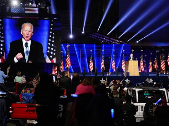 Joe Biden delivers his winning speech on November 7, 2020 in Wilmington, Delaware.  In it, he recited a scripture and words from a Catholic hymn, not only showing his own faith, but also capable of attracting some Trump voters.