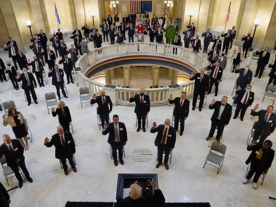 House members participate in a ceremonial swearing-in ceremony at the state Capitol in Oklahoma City on Wednesday.