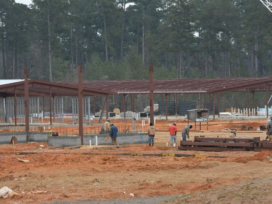 ANI South Polk Elementary Work continues on South Polk Elementary School located on Highway 467 near Leesville Tuesday, Feb. 24, 2015. The $21 million, 98,000-square foot South Polk Elementary will replace a school of the same name located on the base. -Me