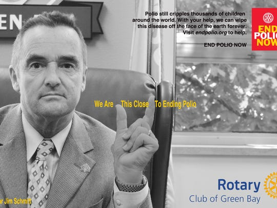 Mayor Jim Schmitt appears in a This Close campaign ad by Rotary Club of Green Bay.