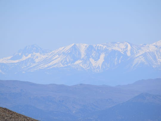 The Sierra Nevada as seen from a location near the summit of Mt. Grant in Mineral County on the Hawthorne Army Depot.