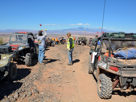 A group led by trail guide Glen Zumwalt enjoy views of the Arizona Strip during the annual Tri State Jamboree.
