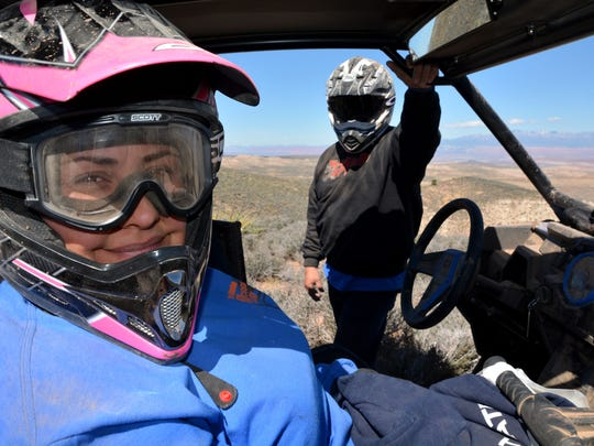 Leticia and Joe Young of Covina, California, enjoy a ride to Seegmiller Mountain on the Arizona Strip during the annual Tri State ATV Jamboree.