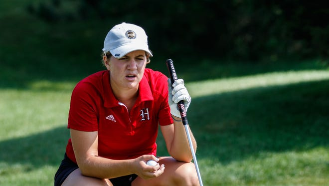 Homestead's Isabelle Maleki eyes up a putt during the 2017 Hartford Invitational at Washington County Golf Course on Thursday, Aug. 10.