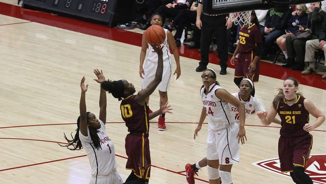 Promise Amukamara had 17 points and 7 rebounds Monday in No. 13 ASU's 60-57 win at No. 11 Stanford.