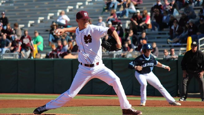 Mississippi State pitcher Austin Sexton suffered the loss at Memphis on Tuesday.