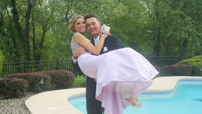 Kristin Schmitt and Christopher Rossi at the Somerville High School prom.