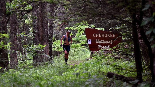 Scott Jurek passes through the Cherokee National Forest in Tennesse this week on his attempted record speed hike of the Appalachian Trail.