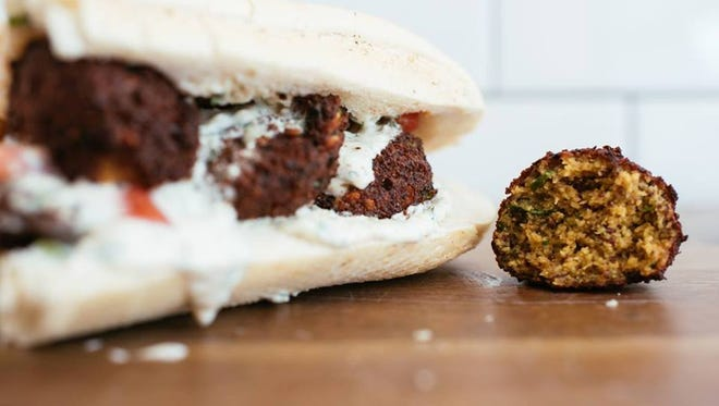 Pop's Poboys serves up traditional and unique po'boy sandwiches, such as this red bean falafel po'boy.