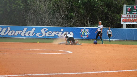 Madison's Ashley Hamlin slides safely into second base.
