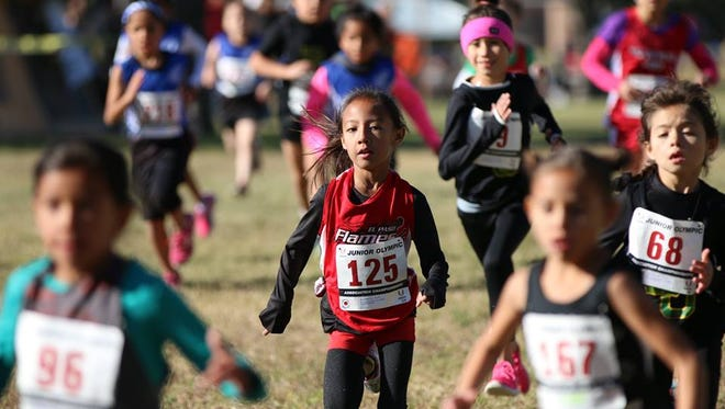 Six-year-old Lila Najera, wearing No. 125, ran in last weekend's Border Association Cross Country Championships at Chamizal National Memorial Park. Lila, who trains with the El Paso Flames, ran the 2,000-meter course in 14 minutes and 53.35 seconds. The Region 10 Junior Olympic Cross Country Championships are Saturday in Albuquerque.