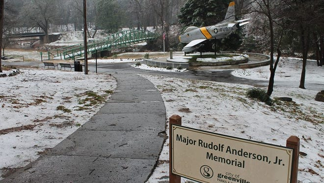 A dusting of snow coated Cleveland Park in Greenville in 2015. Winter weather is possible this week in the Upstate.
