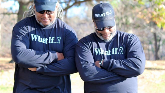 Cousins and business partners Maxwell Dorsey (left) and Richard King are creators of What If Gear - inspirational apparel that is showing up in South Jersey