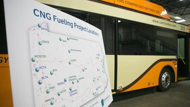 A map of the 29 transit authority locations where Compressed Natural Gas fueling stations will be built during the next five years.