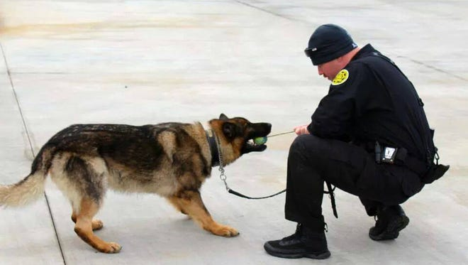 Titan and his first handler, former deputy Jacob Kent.