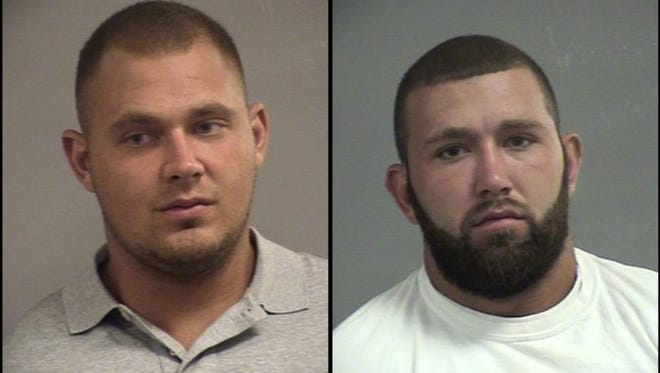 Hunter Campbell, left, and Edward Joiner, right, are accused of robbing and assaulting two men at the bachelor party of a mutual friend.