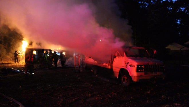 Truck burning at fire in Long Neck on Tuesday, Oct. 11.