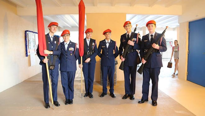 """JRTOC cadets from Satellite High School presented the colors at Sea Park Elementary's """"Take a Vet to School Day"""" event."""