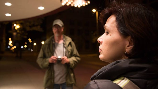 """A movie still from """"Where the Great Spirits Live"""" shows a scene featuring Dirke, played by Mark Borchardt, and Emma, played by movie writer, director and executive producer Melonie Gartner."""