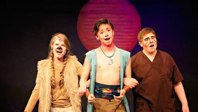 From left: Timon played by Adeline Halsey; Simba played by Kole Patterson; Pumba played by Ben Gollaher.