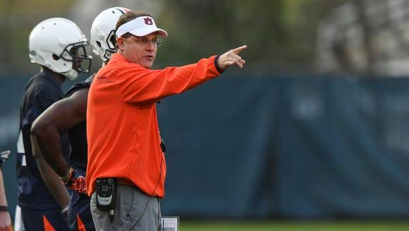 Gus Malzahn Auburn football spring practice on Tuesday,