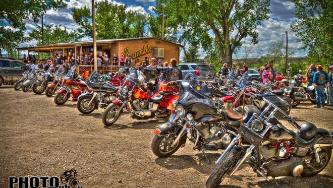 Motorcycles line the parking lot of the Ramble Inn at last year's Bikers for Boobs event.