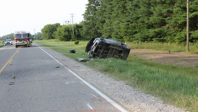 Two people were injured in a rollover crash on Black River Road in Worth Township.
