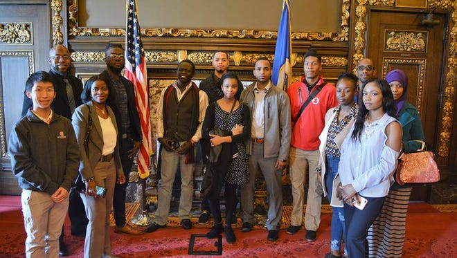 Members of the Jugaad Leadership Program pose in the Minnesota State Capitol building on one of their class outings.