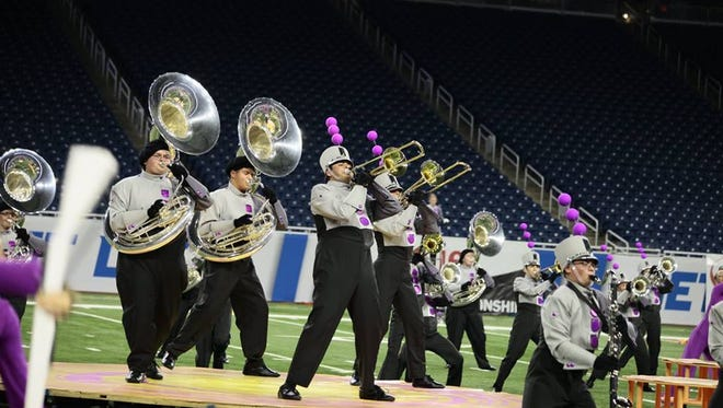 The Plymouth-Canton marching band finished second -- less than a point behind Rockford -- at the state competition at Ford Field.