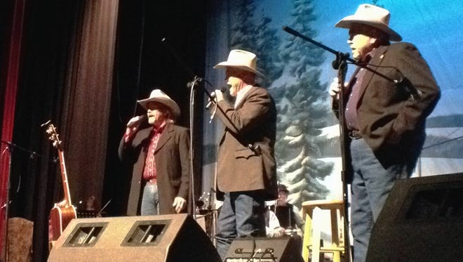 Sons of the San Joaquin (from right) Joe Hannah, Jack Hannah and Lon Hannah perform at the Visalia Fox Theatre.