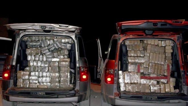 Juárez police seized a half-ton of marijuana crammed into a pair of Honda Elements.