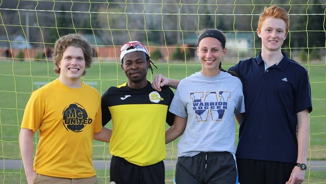 Proceeds from the MC United Mountain Bay Cup Tournament, taking place May 3-5, 2019, in Wausau, help to fund Duronet Charles Scholar Athlete Scholarship. Pictured are 2018 honorees, from left, Matt Lukasik, Duronet Charles, Natalie Lucht and Varick Peak.