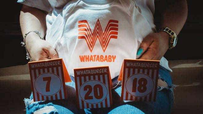 A Corpus Christi mom-to-be posed for her maternity pictures at a local Whataburger on Wednesday, June 6, 2018.